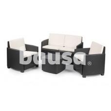Plastikinių sodo baldų komplektas ETNA, staliukas, 2 foteliai, suolas
