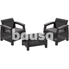 Plastikinių sodo baldų komplektas CORFU WEEKEND, staliukas ir 2 krėslai