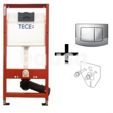 """WC modulis """"TECEbase"""" (4in1), klav. AMBIA chrom., tvirtinimai, izol. tarpinė"""