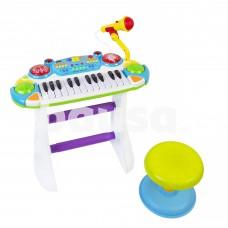 Vaikiškas pianinas-sintezatorius su mikrofonu ir kėdute B15
