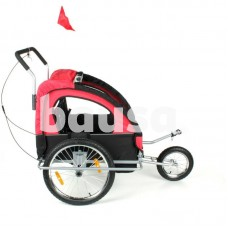 Prie dviračio tvirtinamas dvivietis vežimėlis - priekaba vaikams su stogeliu