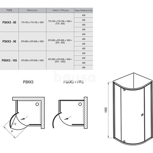 Pusapvalė dušo kabina Ravak Pivot, PSKK3-90, satinas+stiklas Transparent