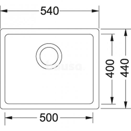 Akmens masės plautuvė Franke Kubus KBG 110-50, ekscentrinis ventilis, Onyx