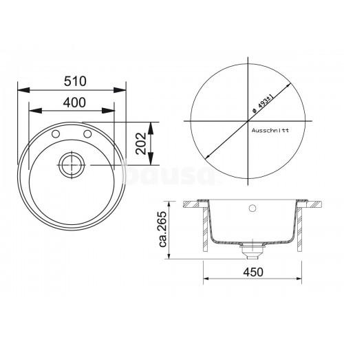 Akmens masės plautuvė Franke Ronda, ROG 610-41, užkemšamas ventilis, Graphit