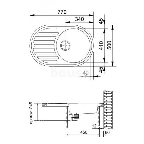 Akmens masės plautuvė Franke Ronda, ROG 611, ekscentrinis ventilis, Graphit