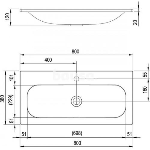 Lietas praustuvas Ravak Ring, 80 cm