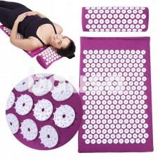Akupresūros kilimėlis su pagalvėle SIX7FIT tamsiai rožinis