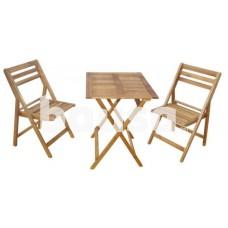Medinis sodo baldų komplektas, stalas 65 x 55 x 72 cm ir 2 kėdės 54 x 42 x 83 cm