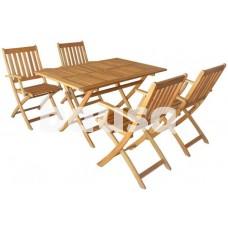 Medinių sodo baldų komplektas, stalas 130 x 80 x 72 cm ir 4 kėdės 56 x 61 x 89 cm