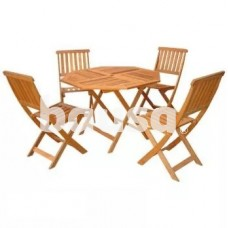 Medinių sodo baldų komplektas, stalas 100 x 100 x 72 cm ir 4 kėdės 59 x 46,5 x 88 cm