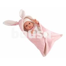 Kūdikėlis su triušiuko ausyčių užklotėliu, rožinis, 33 cm