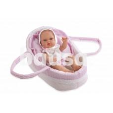Kūdikėlis su rožine nešykle, 33 cm