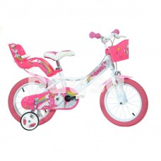 """Vaikiškas dviratis DINO BIKES 144R-UN, baltas / rožinis, 14"""""""