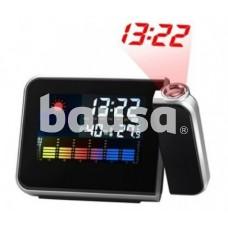 Projekcinis laikrodis su LCD ekranu ir oro sąlygų matavimu, juodas