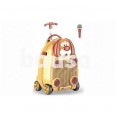 Vaikiškas lagaminas-kolonėlė su mikrofonu, ratukais ir rankena
