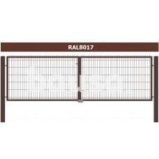 Rudi vartai segmentiniu užpildu, 153 x 400 cm