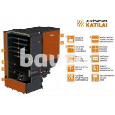"Granulinis katilas 100 kW, komplekte su 100 kW ""Zenono"" degikliu, 400 l bunkeriu"