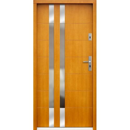 Medinės lauko durys Inox P101