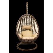 Sintetinio ratano rudos spalvos supamas krėslas, 95 x 110 x 70 cm