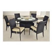 Pintų sodo baldų komplektas, stalas DN150 x 75 cm ir 6 kėdės 59 x 62 x 89 cm