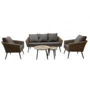 Pintų sodo baldų komplektas, 2 krėslai, 2 staliukai, sofa