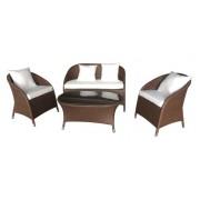Pintų sodo baldų komplektas, staliukas 100 x 63 x 43 cm, sofa ir 2 foteliai