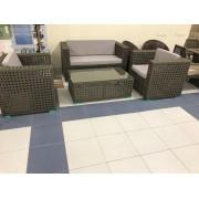 Sintetinio ratano baldų komplektas ETP-XDX65, stalas, 2 foteliai ir dvivietė sofa