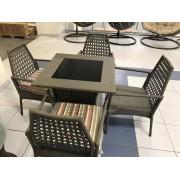 Sintetinio ratano baldų komplektas ETP-YXY157, stalas ir 4 kėdės