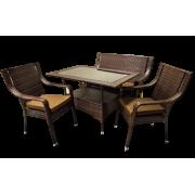 Sintetinio ratano baldai - stalas, suolas, 2 kėdės