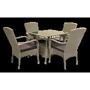 Sintetinio ratano baldai, stalas 80 x 80 x 73 cm, 4 kėdės