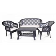 Plastikinių sodo baldų komplektas VERANDA, staliukas, 2 foteliai, suolas