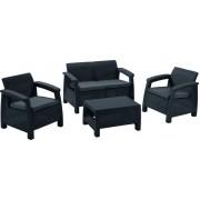 Plastikinių sodo baldų komplektas CORFU, staliukas, 2 foteliai, suolas