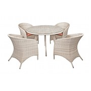 Pintų sodo baldų komplektas, stalas 115 x 115 x 74 cm ir 4 kėdės 60 x 62 x 83 cm