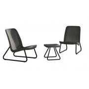 Plastikinių sodo baldų komplektas RIO, staliukas ir 2 kėdės