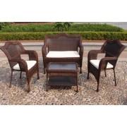 Sintetinio ratano baldai, stalas 76 x 44 x 16/45 cm, suolas, 2 foteliai