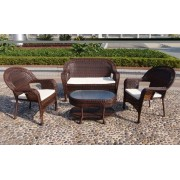 Sintetinio ratano baldai, stalas 87,5 x 56 x 12,5/47,5 cm, suolas, 2 foteliai