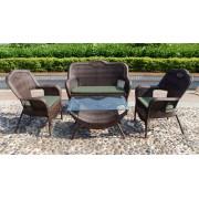 Sintetinio ratano baldai, stalas 84 x 52 cm, suolas, 2 foteliai